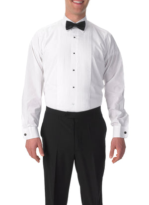 Men's White, Lay Down Collar, Long Sleeve Tuxedo Shirt with ¼″ Pleats
