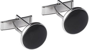 Silver Metal Cuff Links with Black Stone
