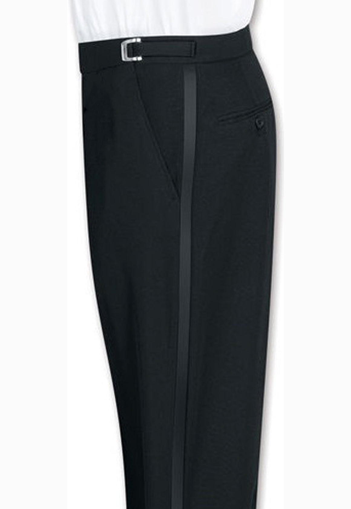 Men's Black, Adjustable-Waist, Flat Front Tuxedo Pants with Satin Stripe