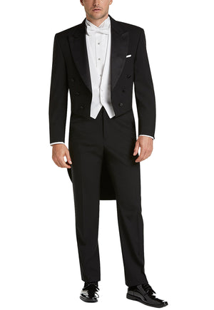 Men's Black, Satin Peak Lapel, Full Dress Tail Coat Tuxedo Jacket