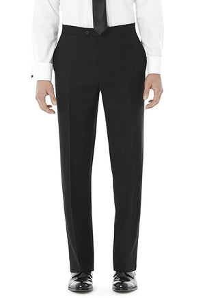 Men's Black, Flat Front, Comfort-Waist Tuxedo Pants with Satin Stripe
