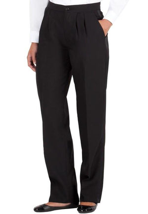Women's Black, Pleated Front, Comfort-Waist Tuxedo Pants with Satin Stripe