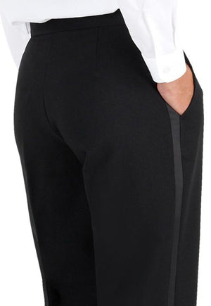 Women's Black, Flat Front, Contemporary Low Rise Tuxedo Pants with Satin Stripe