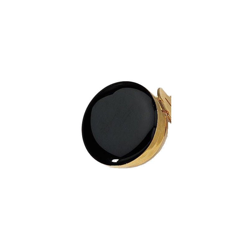Metal Button Cover with Black Stone
