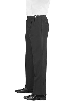 Men's Black, Adjustable-Waist, Pleated Front Tuxedo Pants with Satin Stripe