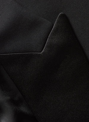 Men's Black, Single Breasted, 1-Button, Satin Peak Lapel Tuxedo Jacket