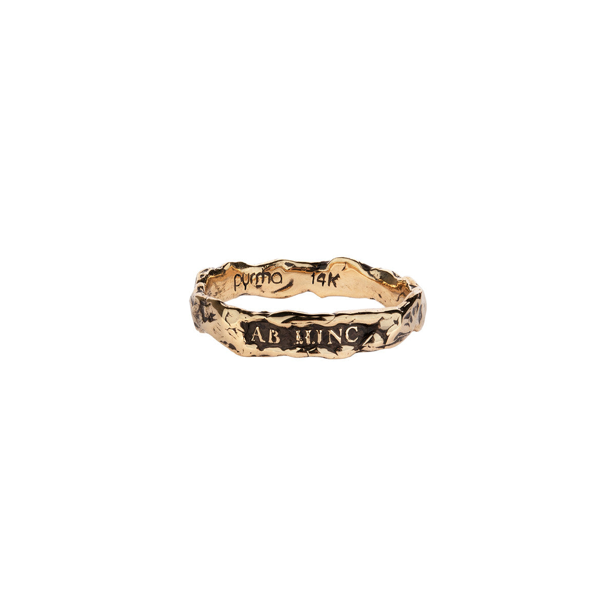 Ab Hinc (From Here On)  Narrow 14K Gold Textured Band Ring