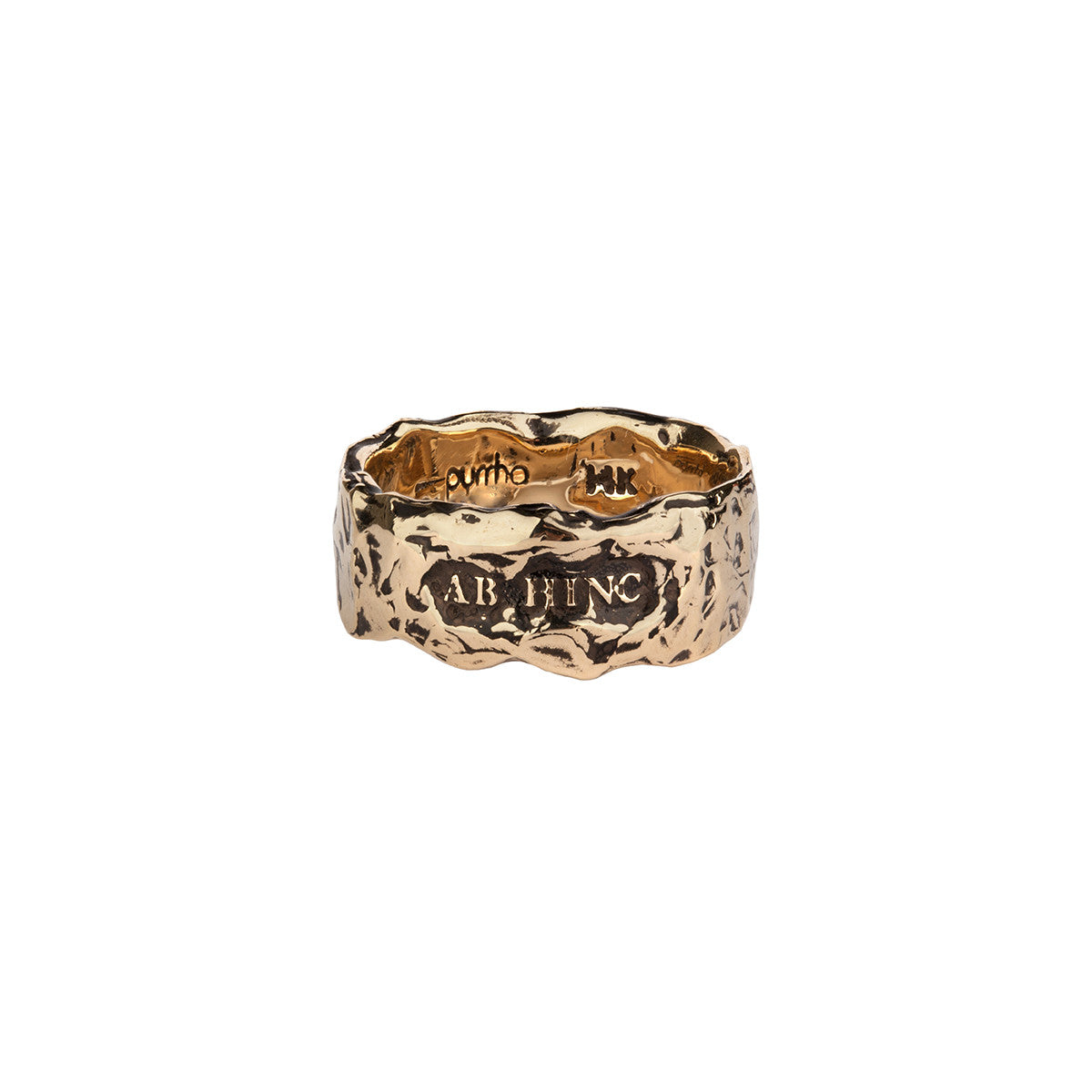 Ab Hinc (From Here On) Wide 14K Gold Textured Band Ring