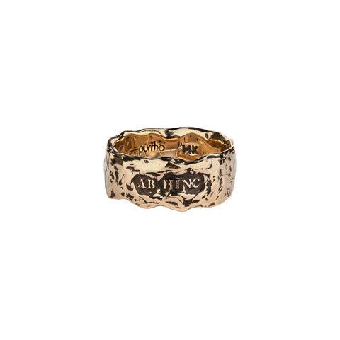 Ab Hinc Wide 14K Gold Textured Band Ring