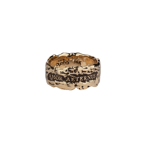 Amor Aeternus (Eternal Love) Wide 14K Gold Textured Band Ring