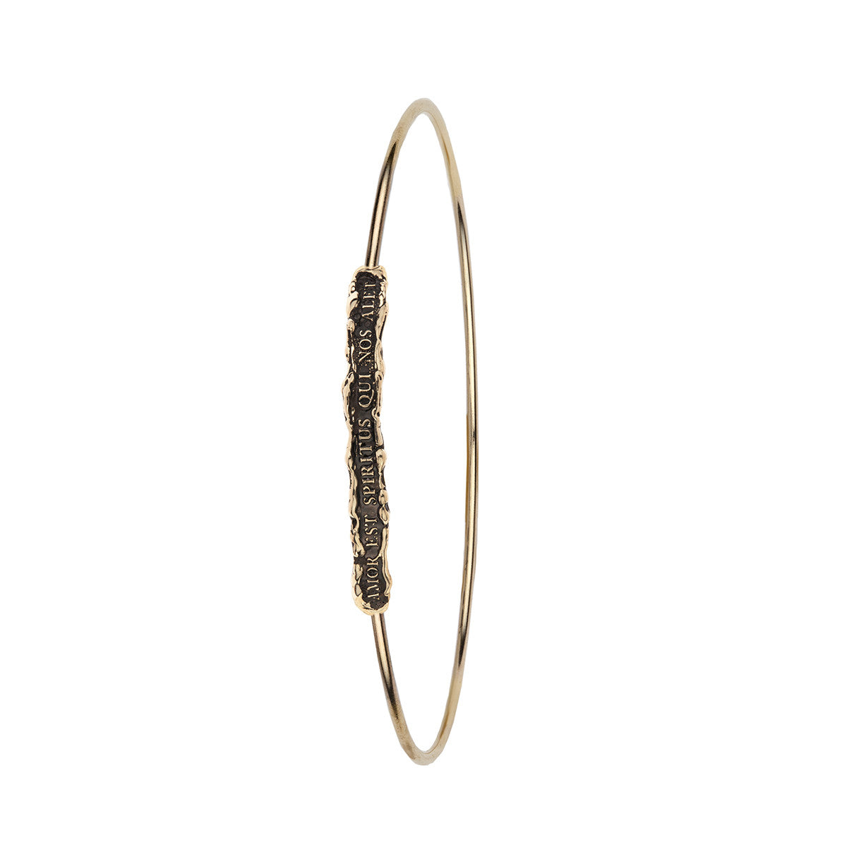 Amor Est Spiritus Qui Nos Alet (Love is the Breath that Sustains Us) 14K Gold Polished Bangle