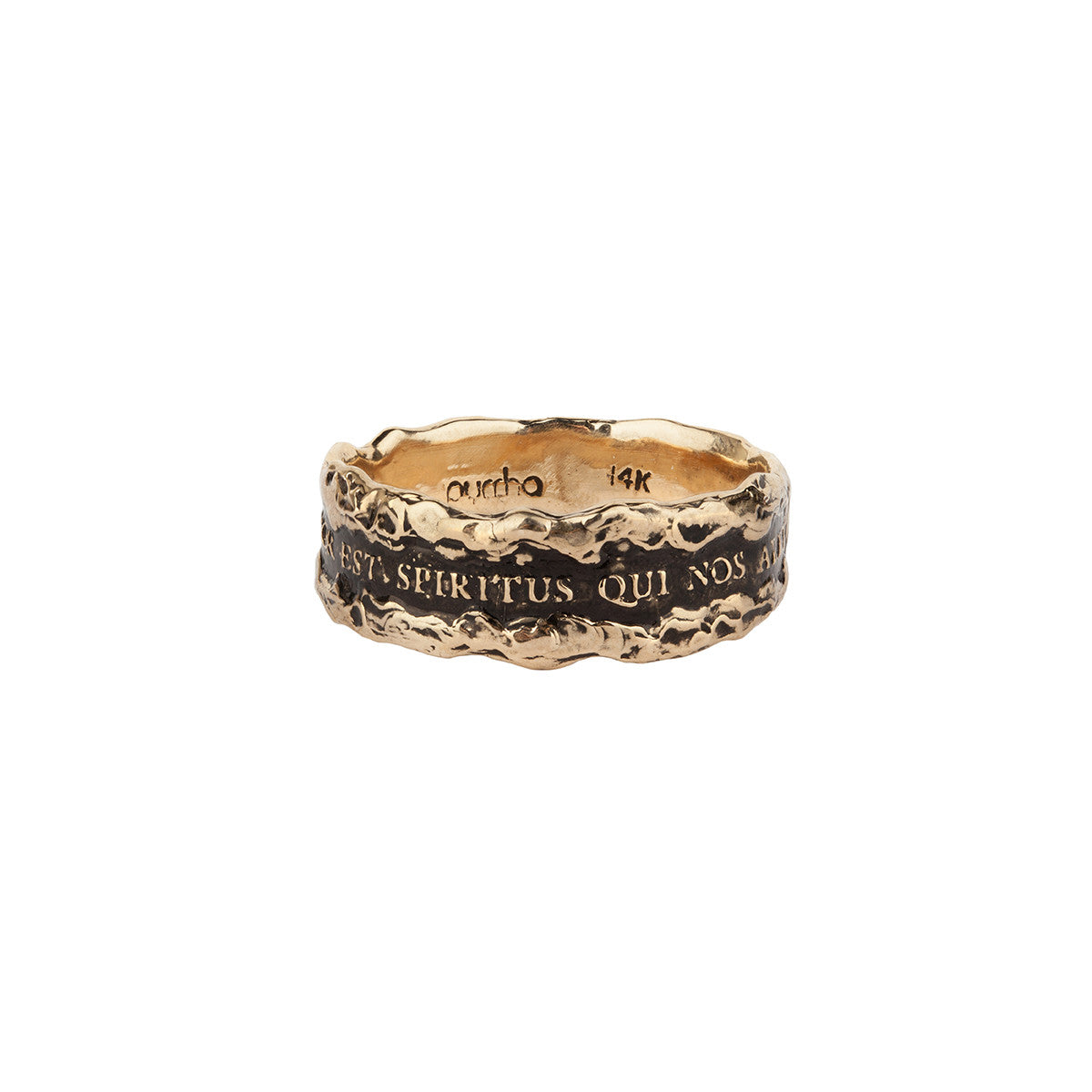 Amor Est Spiritus Qui Nos Alet (Love is the Breath that Sustains Us) Wide 14K Gold Textured Band Ring