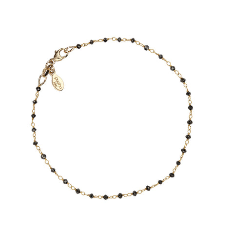 Black Diamond 14K Gold Wrapped Stone Bracelet