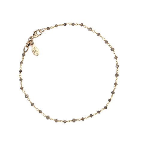 Champagne Diamond 14K Gold Wrapped Stone Bracelet