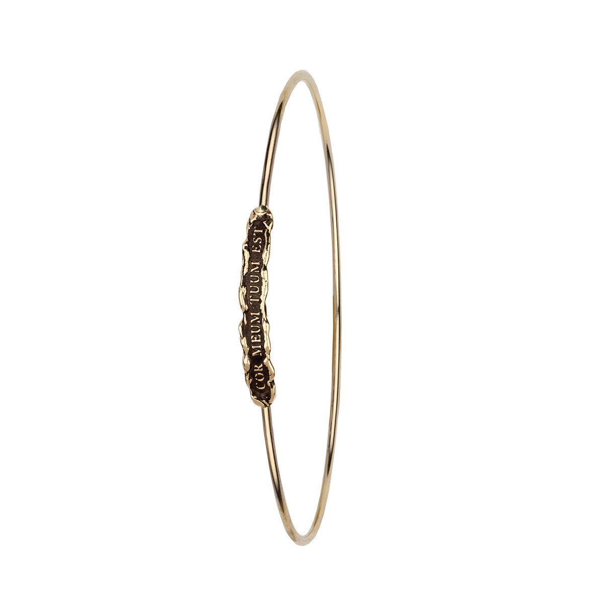 Cor Meum Tuum Est (My Heart is Yours) 14K Gold Polished Bangle