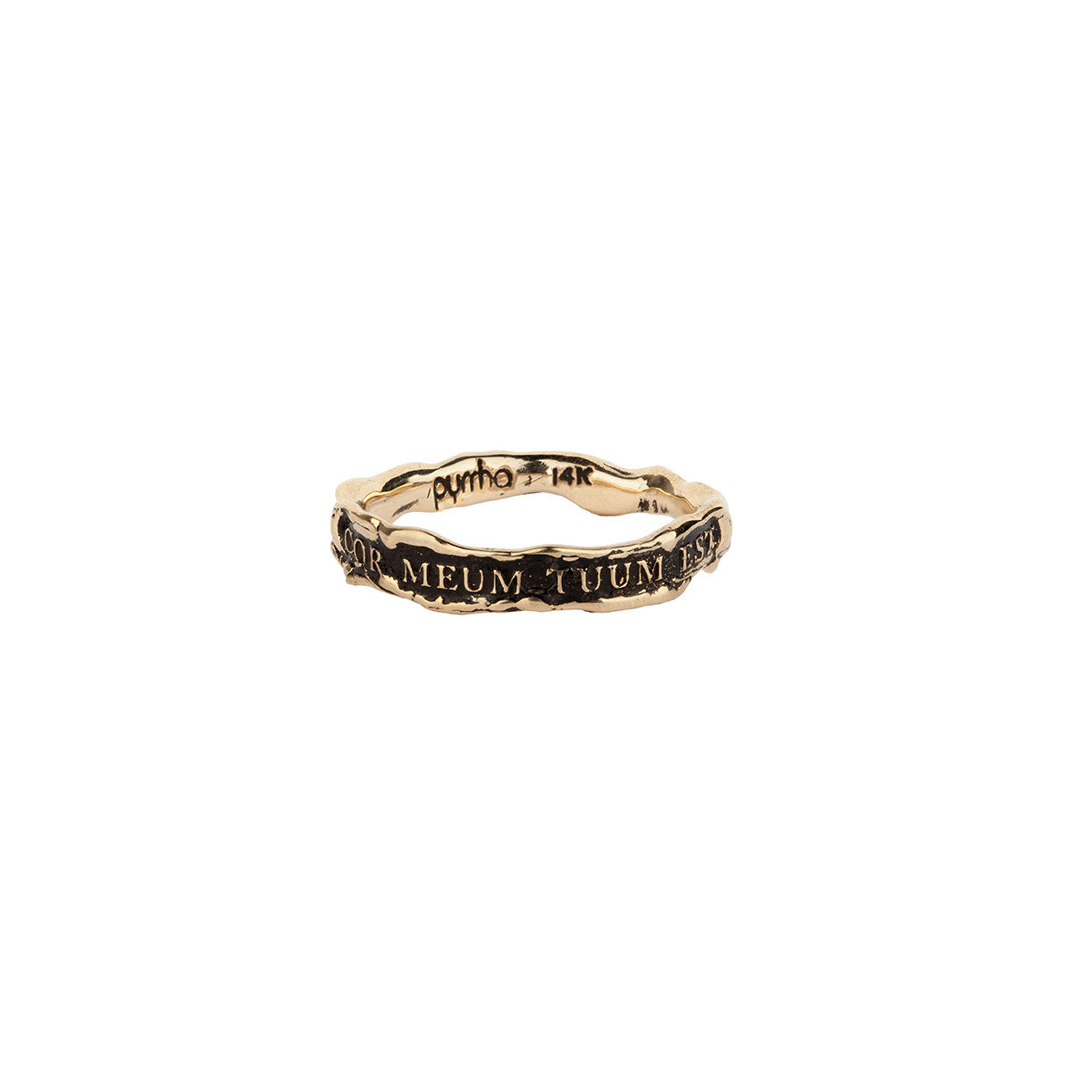 Cor Meum Tuum Est (My Heart is Yours) Narrow 14K Gold Textured Band Ring