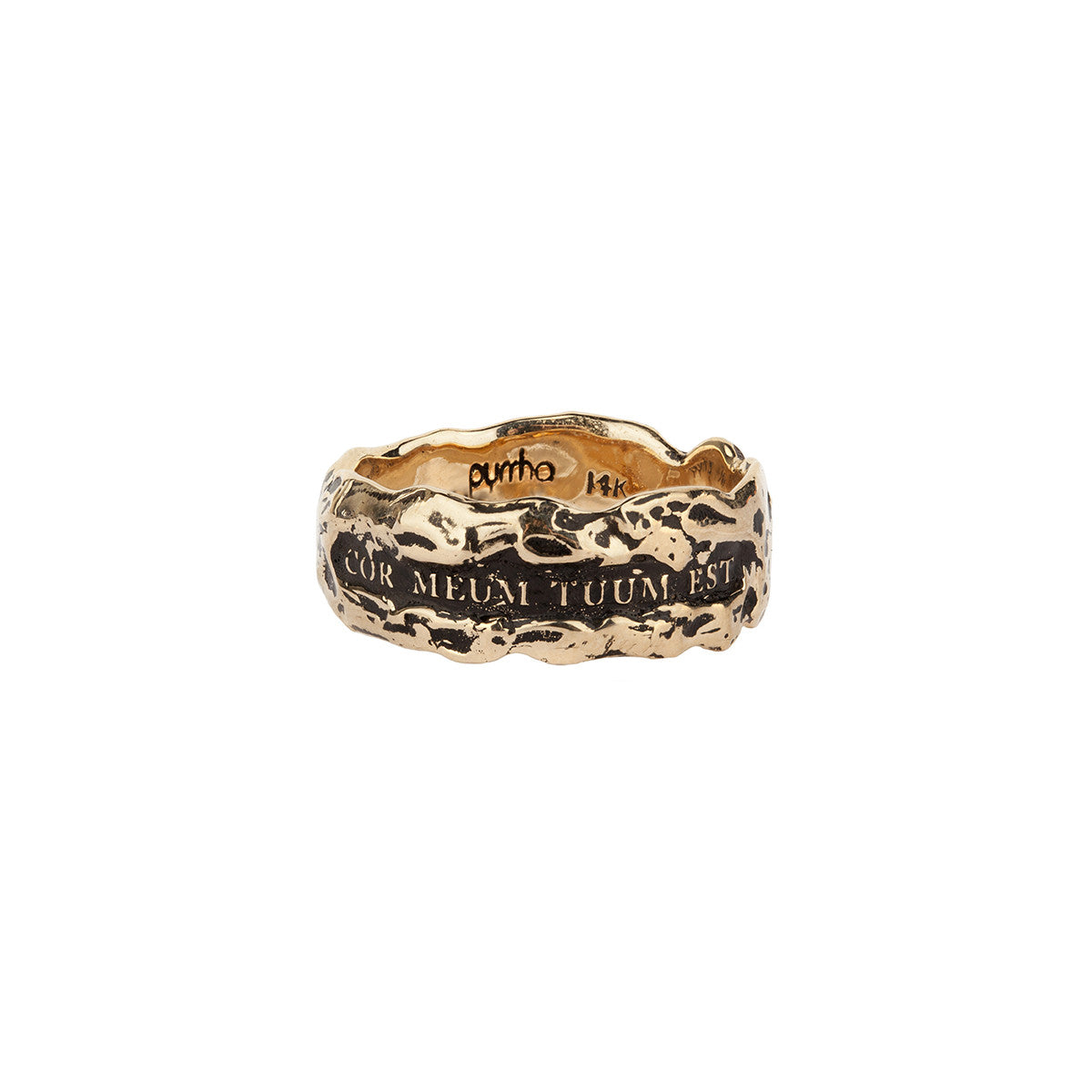 Cor Meum Tuum Est (My Heart is Yours) Wide 14K Gold Textured Band Ring
