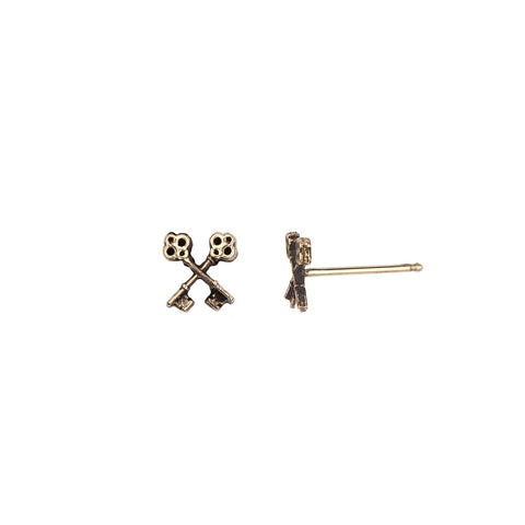 Crossed Keys 14K Gold Symbol Stud Earrings