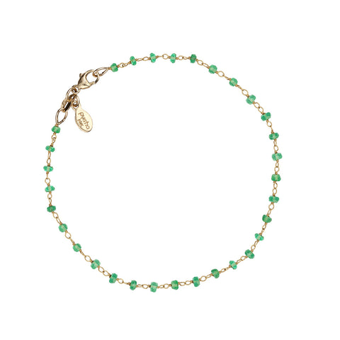Emerald 14K Gold Wrapped Stone Bracelet