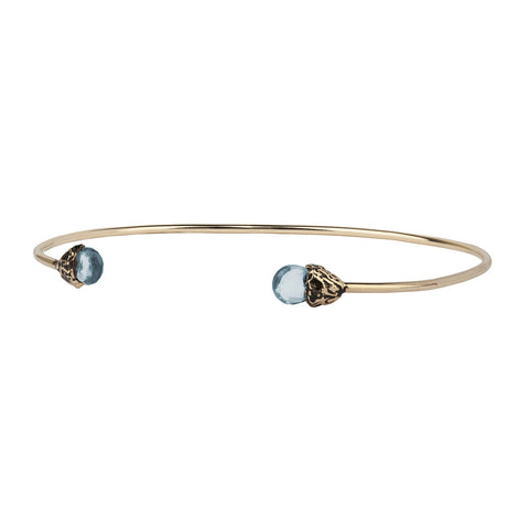 Family 14K Gold Capped Attraction Charm Open Bangle