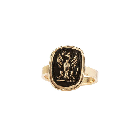 Follow Your Dreams 14K Gold Flat Band Talisman Ring