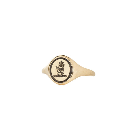 Hand & Heart 14K Gold Oval Signet Ring