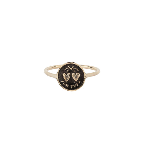 Hearts 14K Gold Talisman Ring