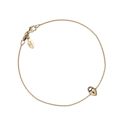 Heart Lock 14K Gold Symbol Chain Bracelet