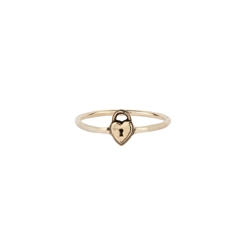 Heart Lock 14K Gold Symbol Ring