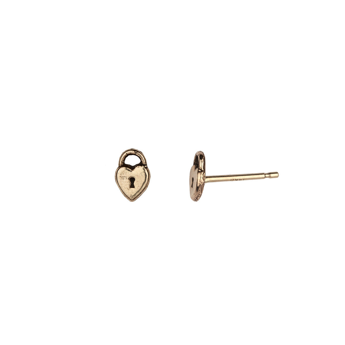 Heart Lock 14K Gold Symbol Stud