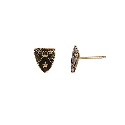 Moon & Stars 14K Gold Talisman Stud Earrings