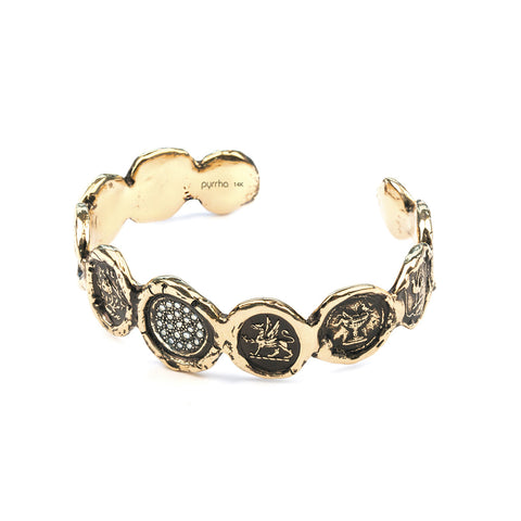 14K Gold Diamond Set Multi Talisman Cuff