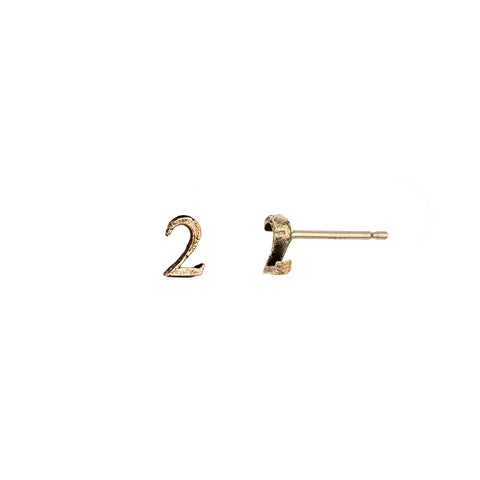 Number 14K Gold Stud Earrings