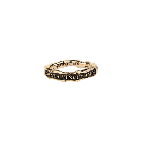 Omnia Vincit Amor (Love Conquers All) Narrow 14K Gold Textured Band Ring