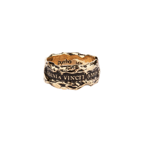 Omnia Vincit Amor (Love Conquers All) Wide 14K Gold Textured Band Ring