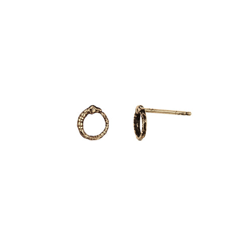 Ouroboros 14K Gold Symbol Stud Earrings