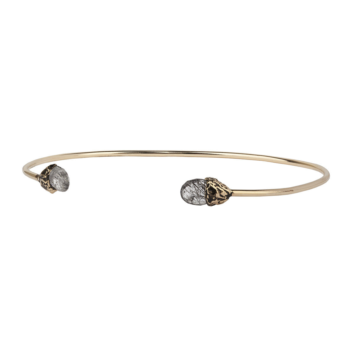 Protection 14K Gold Capped Attraction Charm Open Bangle