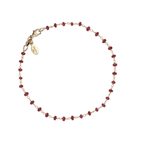 Ruby 14K Gold Wrapped Stone Bracelet