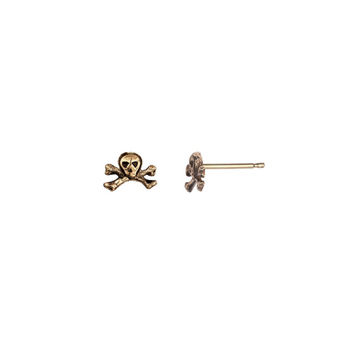 Skull & Crossbones 14K Gold Symbol Stud Earrings