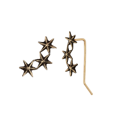 Star 14K Gold Crawler Earrings