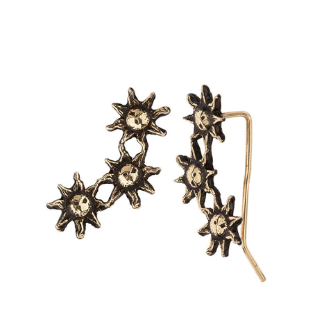 Sun 14K Gold Crawler Earrings
