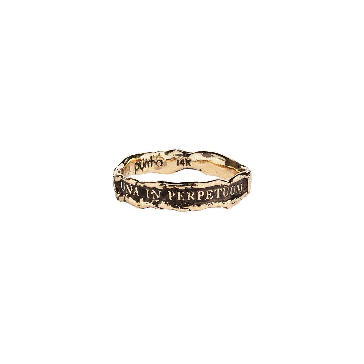 Una In Perpetuum (Together Forever) Narrow 14K Gold Textured Band Ring