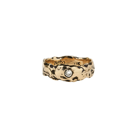 Diamond Set 14K Gold Wide Textured Band Ring