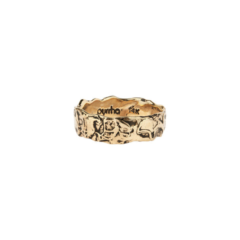 Wide 14K Gold Textured Band Ring