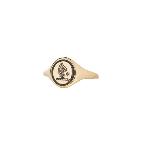 Wing & Star 14K Gold Engraved Signet Ring