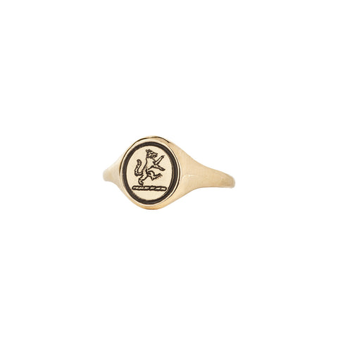 Wolf 14K Gold Engraved Signet Ring