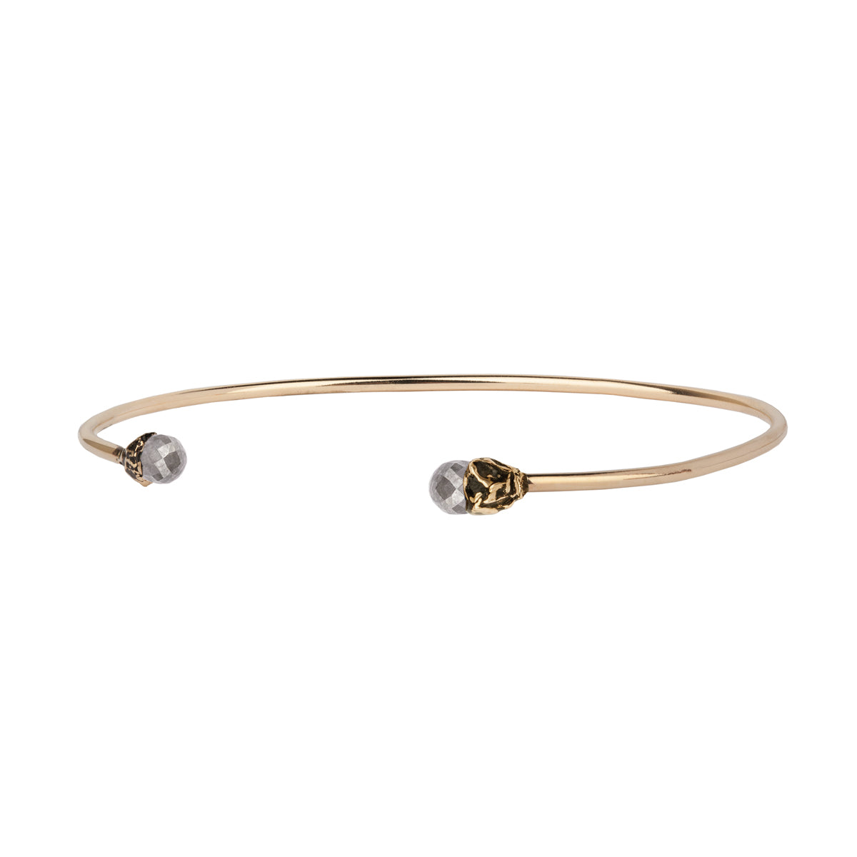 Ashen Rustic Diamond 14K Gold Capped Open Bangle