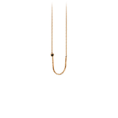 Pyrrha Black Diamond 14K Gold Charm Holder Necklace