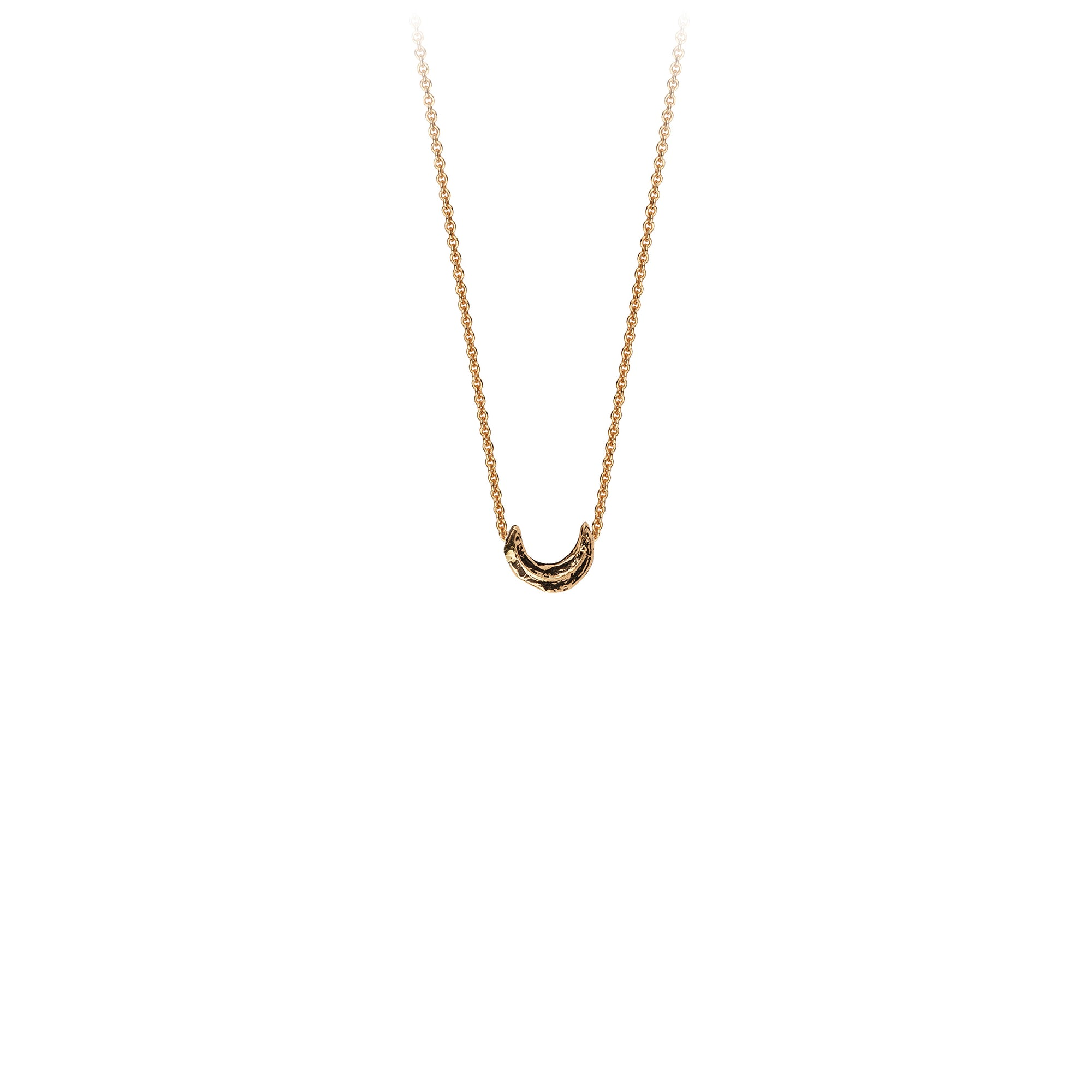 Pyrrha Crescent Moon 14K Gold Symbol Charm Necklace