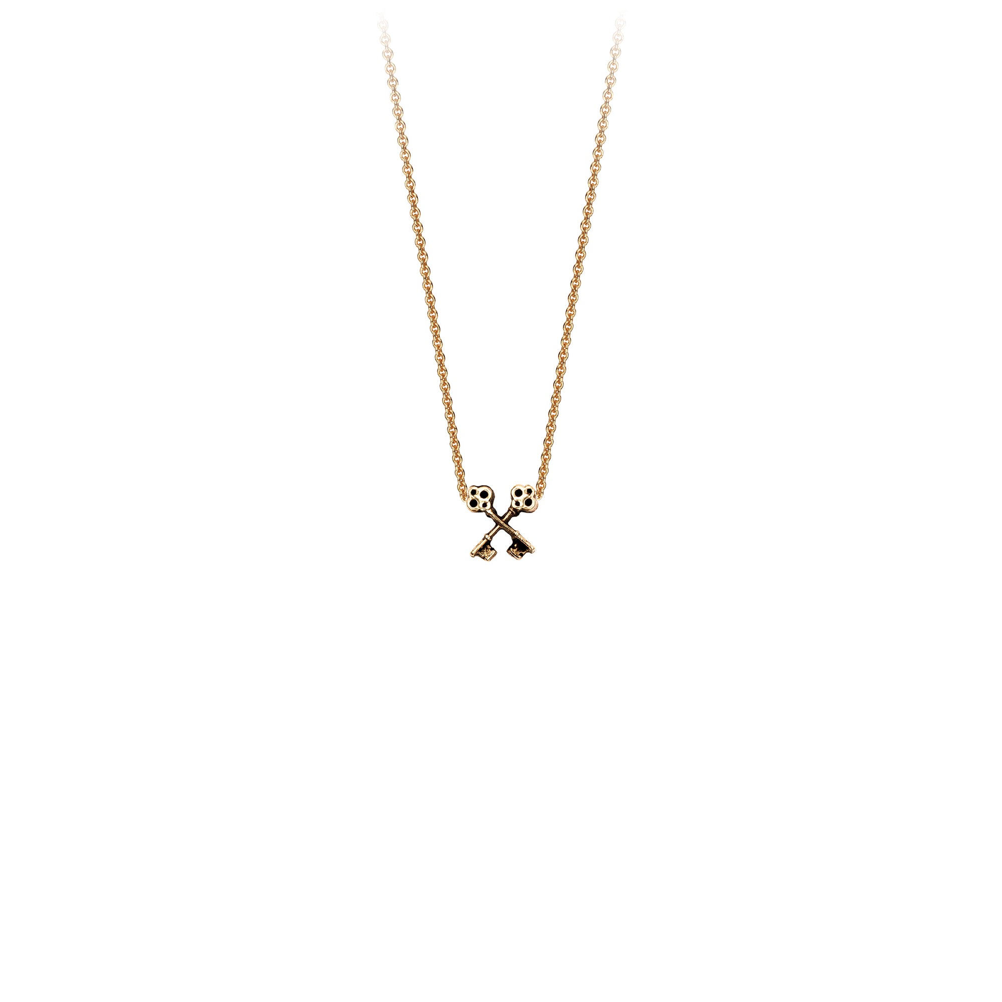 Pyrrha Crossed Keys 14K Gold Symbol Charm Necklace
